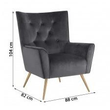 Fotel welurowy bodiva szary/mosiądz