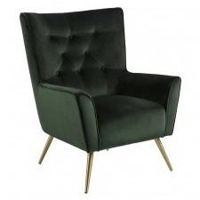 Fotel welurowy bodiva zielony/mosiądz