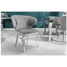 Fotel welurowy modern barock szary glamour