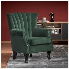 Fotel welurowy titan zielony/czarne nóżki