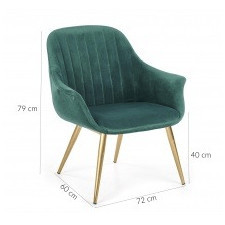 Fotel welurowy uno 2 zielony/złoty glamour