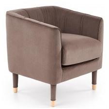 Fotel wypoczynkowy baltimore welur brązowo-popielaty wysokie nóżki