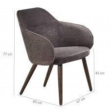Fotel wypoczynkowy do salonu valley ciemnoszary/orzech