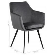 Fotel wypoczynkowy nora ciemnoszary welurowy
