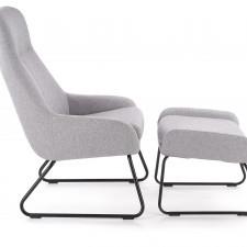 Fotel z podnóżkiem turfio szary/czarny nowoczesny