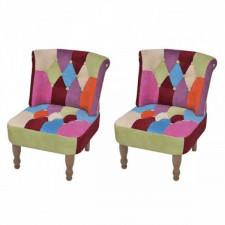 Fotele francuskie, 2 szt., patchworkowe, tkanina