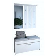Garderoba basic biała nowoczesna z lustrem