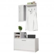 Garderoba z wieszakami i lustrem monara biała