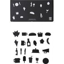 Ikony food do tablicy design letters 21 szt. czarne