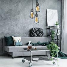 Industrialna lampa wisząca kopenhagen loft steel grey z trzema kloszami
