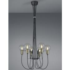 Industrialna lampa wisząca z sześcioma szklanymi kloszami nacho