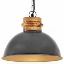 Industrialna lampa wisząca, szara, okrągła, 32 cm, e27, mango