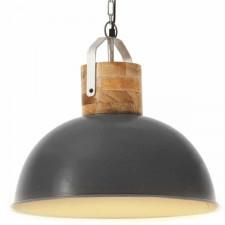 Industrialna lampa wisząca, szara, okrągła, 42 cm, e27, mango