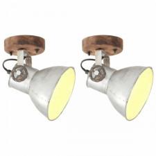 Industrialne lampy ścienne/sufitowe 2 szt. srebrne 20x25 cm e27