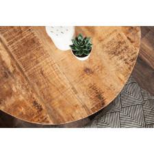 Industrialny, okrągły stolik kawowy factory z drewnianym blatem / średnica 56 cm