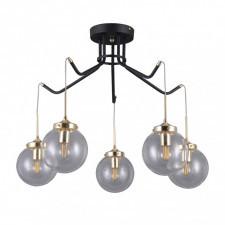 Italux domenico pnpl-43232-5 lampa wisząca oprawa industrialna 5x5w czarny mat złoty
