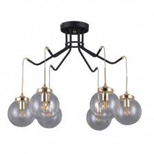 Italux domenico pnpl-43232-6 lampa wisząca oprawa industrialna 6x5w czarny mat złoty