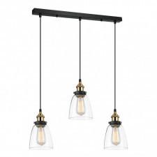 Italux francis mdm-2563/3 gd+cl lampa sufitowa wisząca 3x40w czarny/złoty