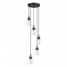 Italux francis mdm-2563/5 gd+cl lampa sufitowa wisząca 5x40w czarny/złoty