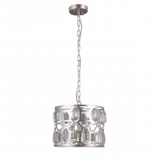Italux momento pnd-43400-3 lampa wisząca kryształowa oprawa okrągła 3x40w srebrny szampański