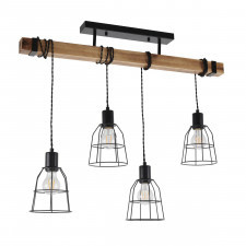Italux ponte pnd-4290-4-l lampa wisząca industrialna oprawa stalowa 4x60w drewno czarny