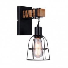 Italux ponte wl-4290-1-l lampa ścienna kinkiet industrialny 1x60w czarny drewno