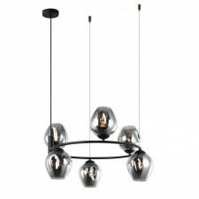 Italux roxane mdm-4045-6 bk+sg lampa wisząca oprawa industrialna 6x40w czarny chrom przydymiony