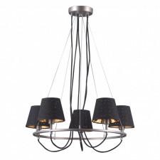 Italux terry md38999/5 lampa wisząca dekoracyjna z abażurami 5x40w czarny nikiel chrom
