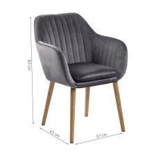 Krzesło do salonu emily szare welur