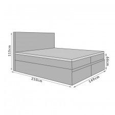 Łóżko kontynentalne inter 140x200 szare z pojemnikami od góry