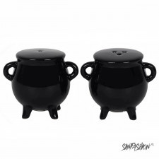 Solniczka i pieprzniczka black decor cauldron salt and pepper set