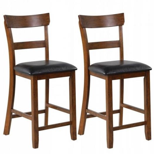 Krzesła barowe wysokie drewniane zestaw 2 szt.