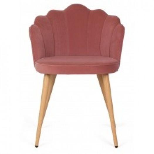 Krzesło welurowe damario muszelka różowe