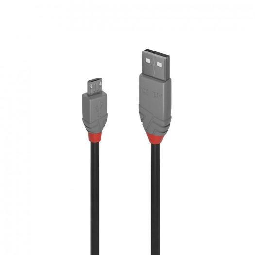 Lindy 36733 anthra line kabel 2 m usb a micro-usb męska czarny, szary
