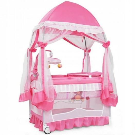 Łóżeczko turystyczne dla dzieci z moskitierą 3w1