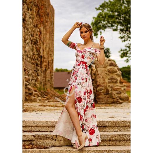 Odsłaniająca ramiona kwiatowa sukienka wieczorowa, elizabeth