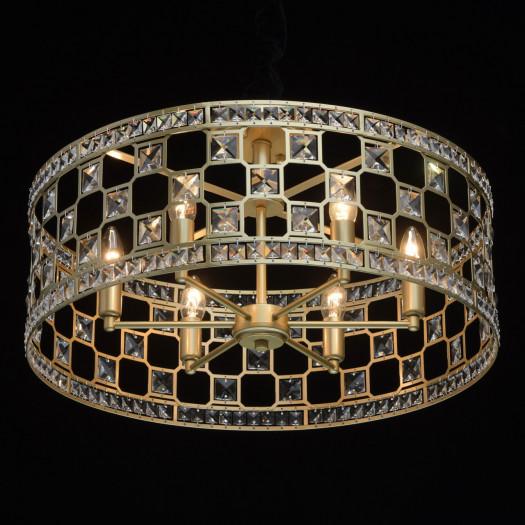 Okrągłe, klasyczne oświetlenie sufitowe, złote, kryształowe wykończenie mw-light (121011606)