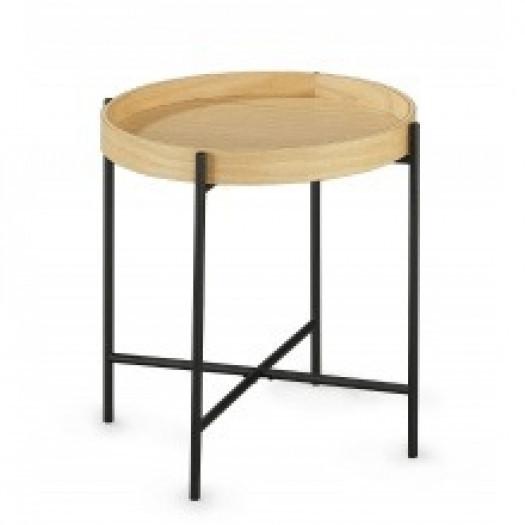Okrągły stolik kawowy bergamo 42 cm dąb/czarne nóżki