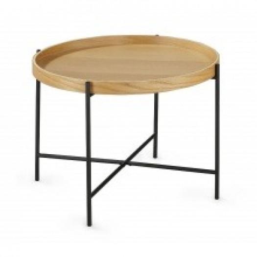 Okrągły stolik kawowy bergamo ii 61 cm dąb/czarne nóżki