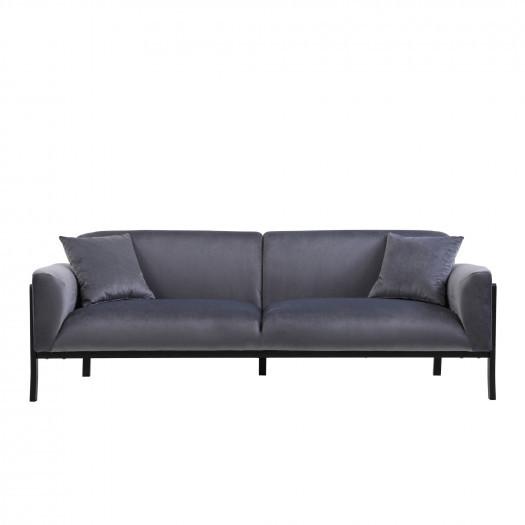 Sofa premium trzyosobowa andre szara welur