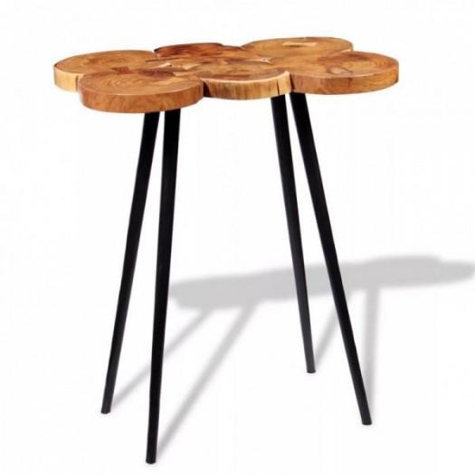 Stolik barowy plastry drewna akacjowego 90x60x110 cm