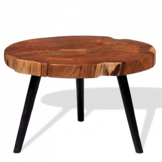 Stolik kawowy plaster, (55-60) x 40 cm, lite drewno akacjowe