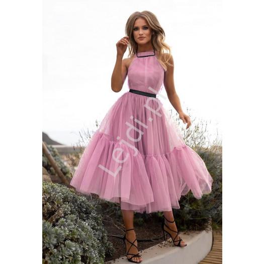 Wieczorowa sukienka midi z tiulu w kolorze pustynnego różu, lara