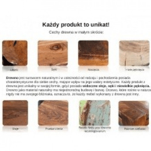 Wysoka komoda z drewna holo 100 cm handmade brąz/złoto