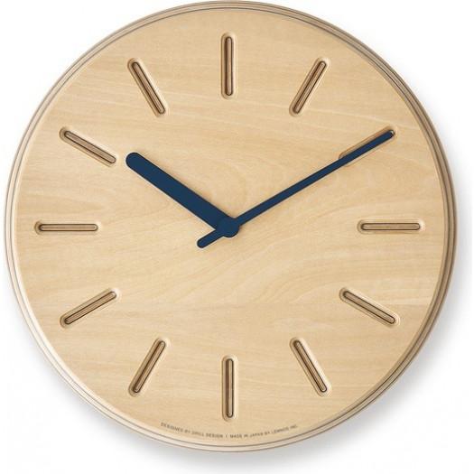 Zegar ścienny paper wood  line 29 cm niebieskie wskazówki