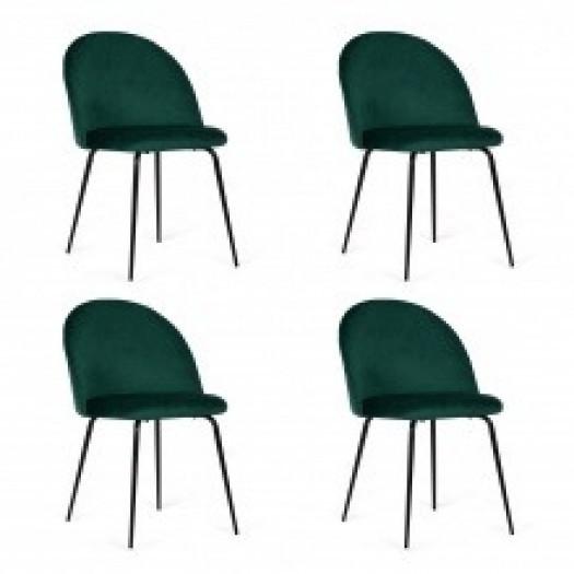 Zestaw krzeseł do jadalni malaga zielony welur